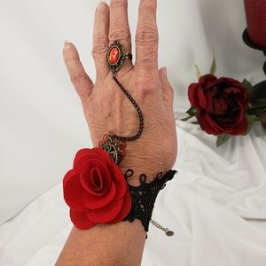 Jewelry - Black Lace and Rose Goth Ring/Bracelet Set